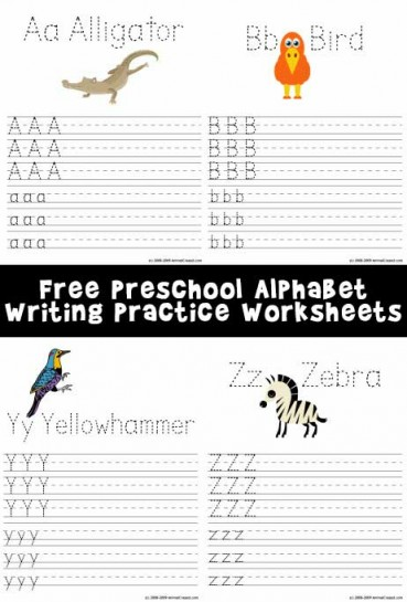 Printable Alphabet Writing Worksheets: A-Z Animals