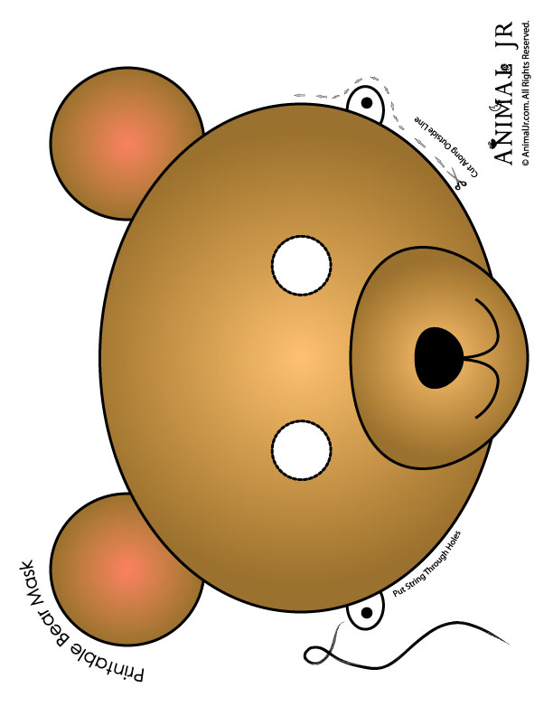 Bright image intended for printable bear mask