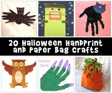 Easy Halloween Handprint and Paper Bag Crafts