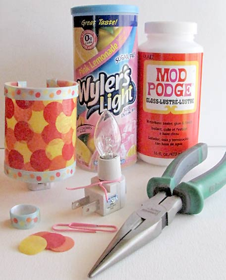 Recycled Night Light craft Materials