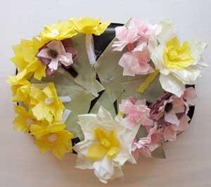 Glue Flowers to Pillbox Hat