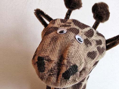 puppet closeup Recycled Crafts: Giraffe Sock Puppet