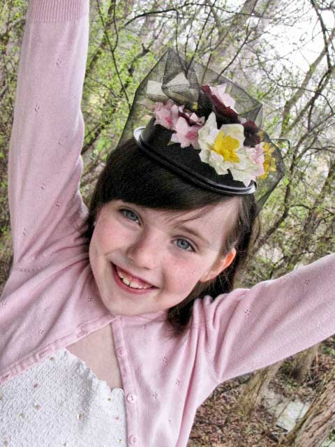 Wearing your Recycled Craft Pillbox Hat