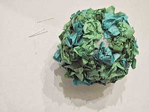 Tissue Paper Flower Topiary Ball - Leaves Finished