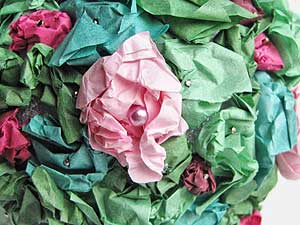 Tissue Paper Flower Topiary Closeup