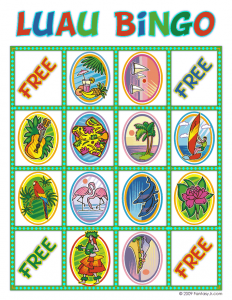 image regarding Printable Luau Party Games named Luau Social gathering Designs, Luau Video games, Luau Bingo and Luau Recipes