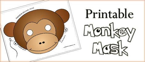 image about Printable Monkey Masks titled Printable Animal Masks: Monkey Mask Woo! Jr. Youngsters Actions