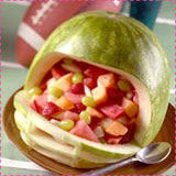 Watermelon Football Helmet Carving