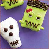 skulls and frankenstein rice krispie treats