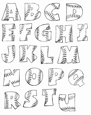 image about Printable Name Stencils named Printable Baseball Alphabet Letters Woo! Jr. Young children Routines