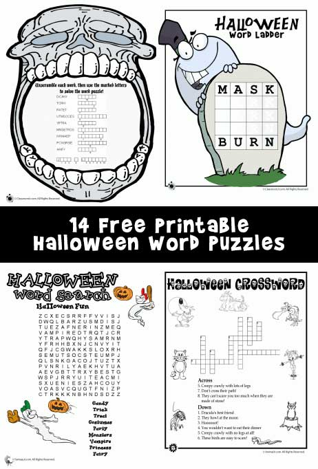 14 Free Printable Halloween Word Puzzles
