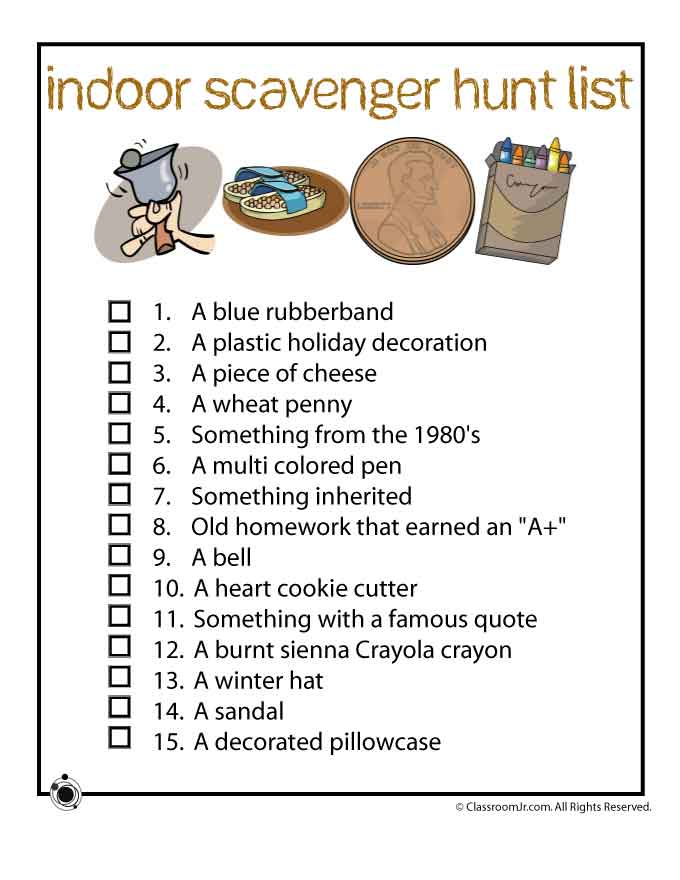 picture regarding Classroom Scavenger Hunt Printable named Indoor Scavenger Hunt Printable Woo! Jr. Young children Routines