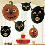 Hanging Halloween Cat, Owl and Pumpkins