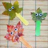 Leaf Stick Puppets for Kids