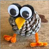 Fall Owls Pine Cone Craft