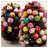 Fabric Button Pinecone Trees