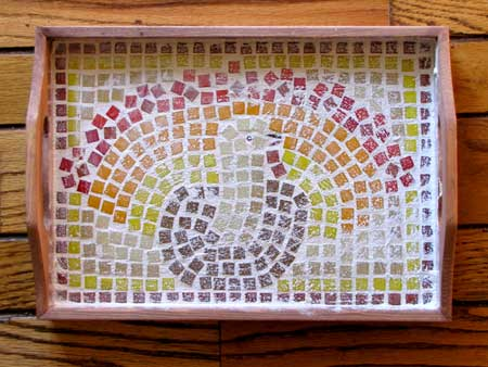 Mosaic Thanksgiving Platter - Grout Completed