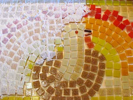 Thanksgiving Mosaic - Grouting the Glass Tiles