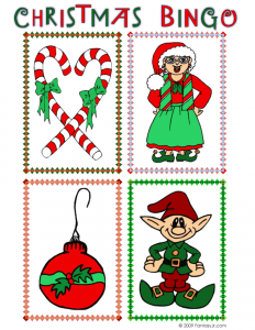 christmas bingo calling card candy ornament mrs claus elf