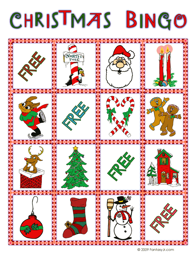 photograph regarding Free Printable Christmas Bingo Cards referred to as Xmas Bingo Card 8 Woo! Jr. Young children Things to do