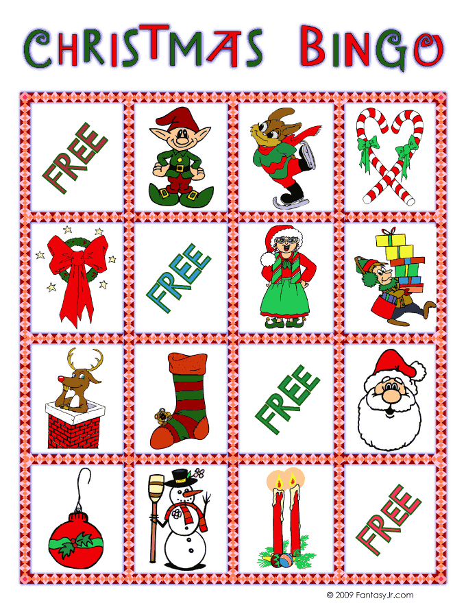 Printable Christmas Bingo Game Woo Jr Kids Activities