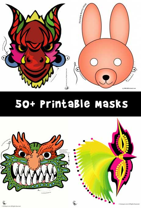 Over 50 Printable Masks for Kids