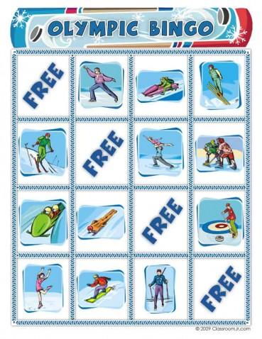 Free Winter Olympics Bingo Game