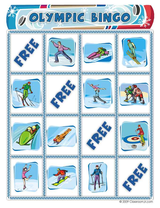 picture about Winter Bingo Cards Free Printable named Totally free Wintertime Olympics Bingo Match Woo! Jr. Little ones Functions