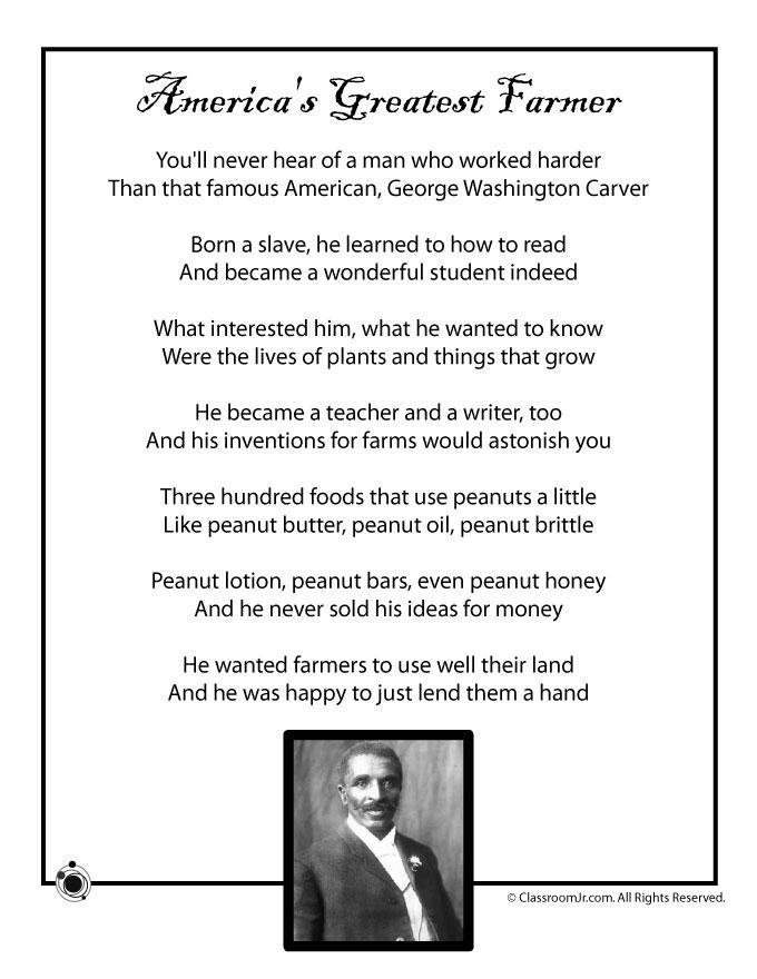 Kids Poem, George Washington Carver - Black History Month - Woo ...