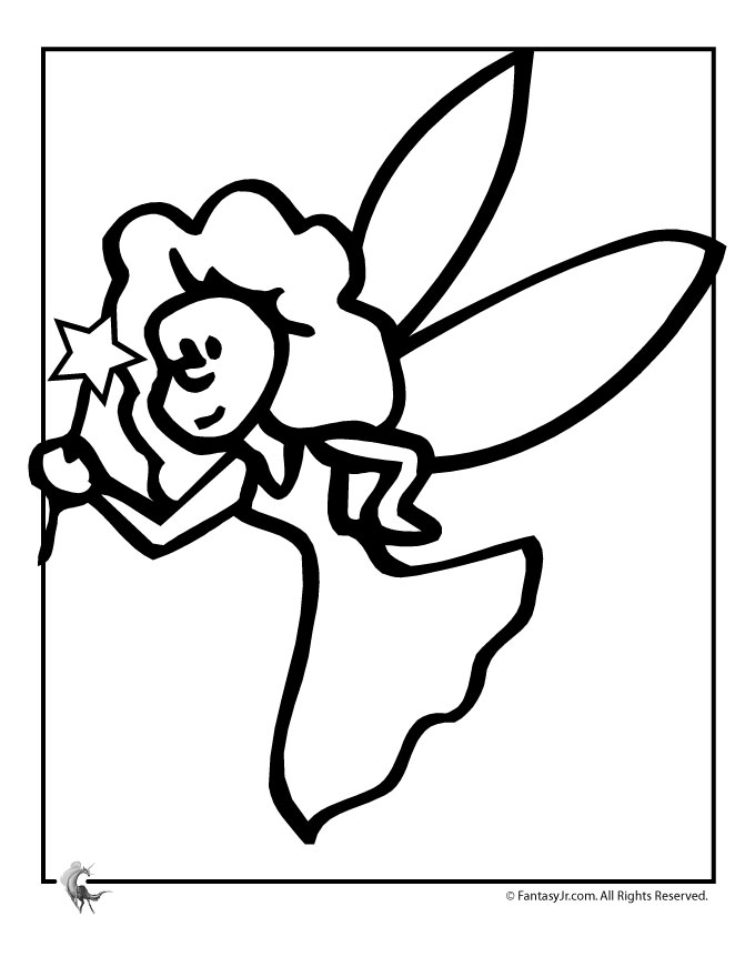 Easy Fairy Coloring Page | Woo! Jr. Kids Activities
