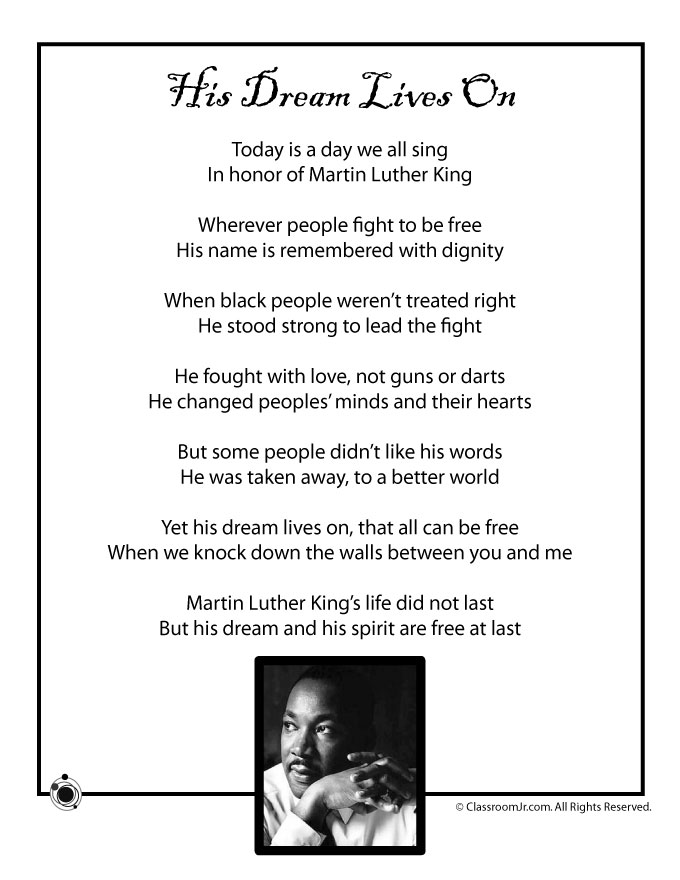 Kids Poem Martin Luther King Jr