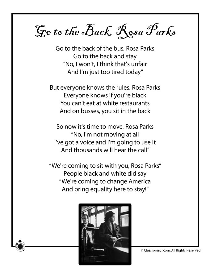 Kids Poem, Rosa Parks - Black History Month - Woo! Jr ...