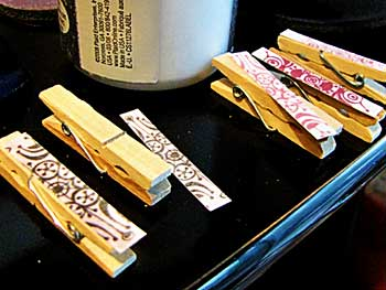 Decoupage Clothespin Thumbtack Clips
