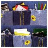 Recycled Denim Room Organizer Sewing Project