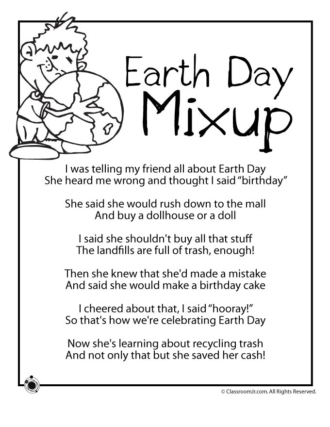 Earth Day Kids Poem Earth Day Mixup Woo Jr Kids Activities