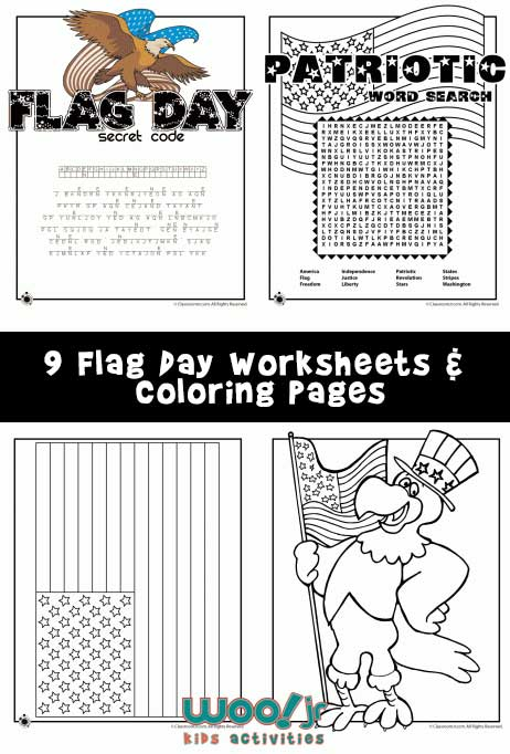9 Flag Day Worksheets & Coloring Pages