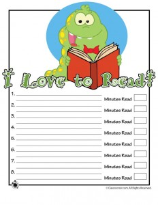 Bookworm Printable Reading Log