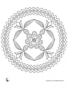 Folk Art Flowers Mandala Coloring Page