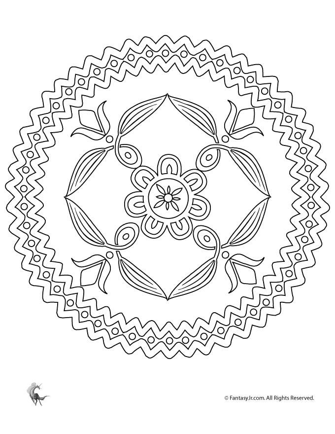 Folk Art Flowers Mandala Coloring Page Woo Jr Kids Activities
