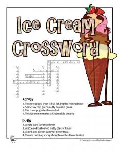 Ice Cream Printable Crossword Puzzle Answer Key