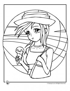 Ice Cream Girl Coloring Page