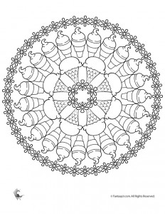 Ice Cream Mandala Coloring Page