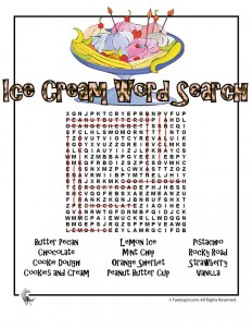 Ice Cream Word Search Answer Key