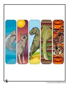 Printable Animal Bookmarks for Boys