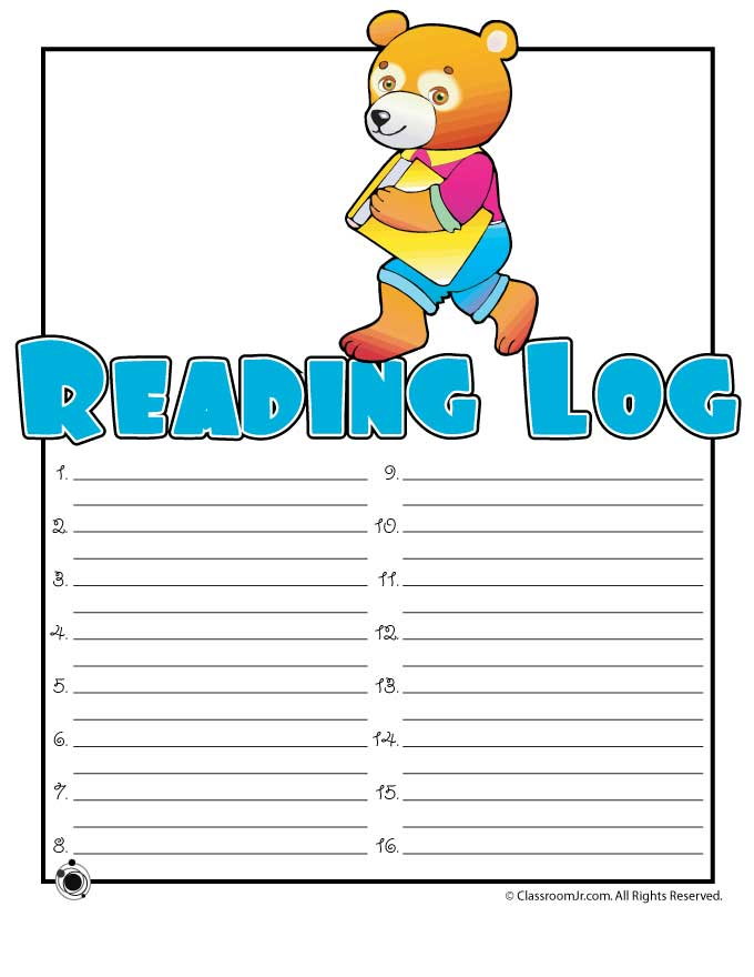 Printable reading log woo jr kids activities for Summer reading log template