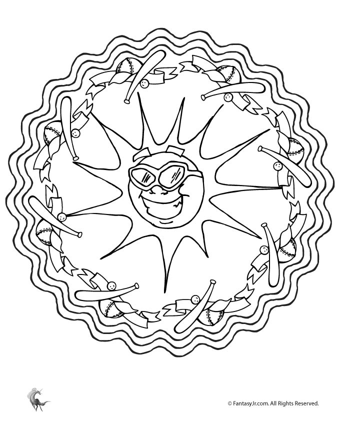 Summer Baseball Sun Mandala Coloring Page | Woo! Jr. Kids Activities