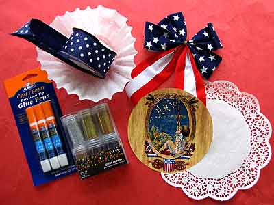 4th of July Paper Rosettes Materials