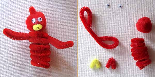 cardinal finger puppet Christmas Kids Crafts: Easy Finger Puppets