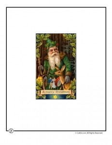 Father Christmas in the Forest Vintage Card