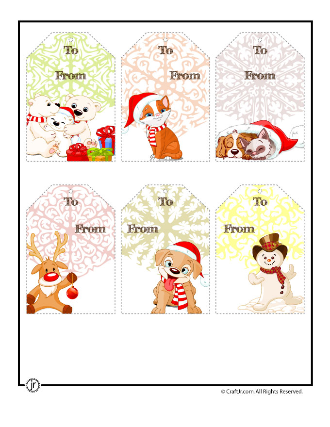 printable christmas tags cute characters - Printable Christmas Name Tags